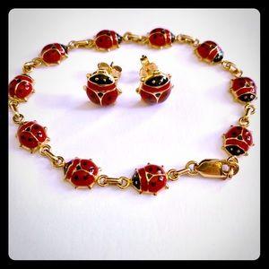 14k Yellow Gold & Enamel Ladybug Bracelet